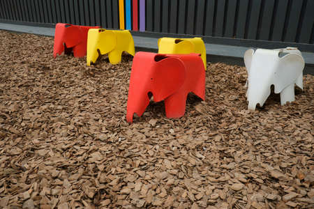 Plastic elephant chair in the park