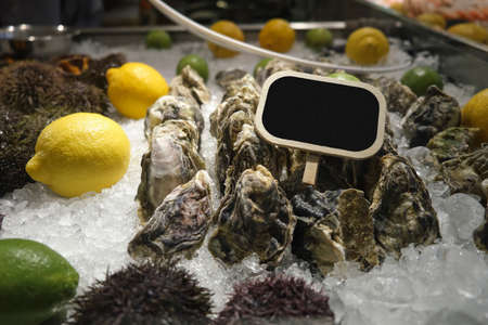Fresh Atlantic oysters on the store counter Stockfoto - 131752590