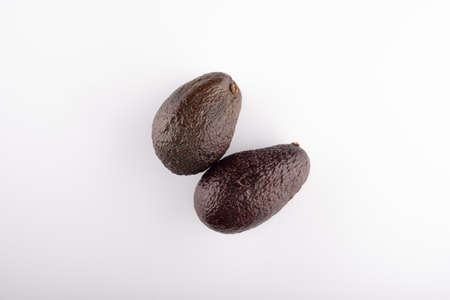 Australian Hass avocado close up in the right side of the white background