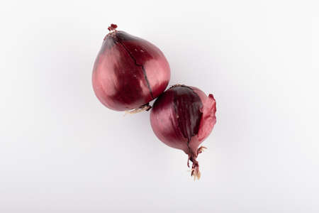 fresh red onion close-up on a white background for an online store