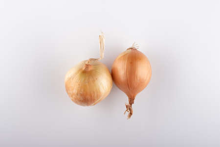 fresh white onion heads on a white background close-up