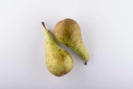 fresh pear closeup on a white background