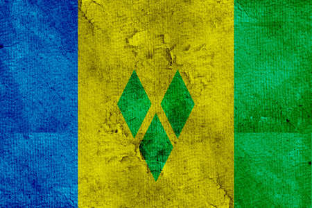 The flag of Saint Vincent and the Grenadines was adopted on October 21, 1985. It is composed of three vertical bands of blue, yellow and green the yellow band forming a Canadian pale being half the width of the flag with three diamonds centered in the yel
