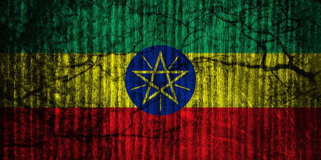 conforms: The current flag of Ethiopia was adopted on 31 October 1996. It conforms to the specifications set forth in Article 3 of the 1995 Constitution of Ethiopia. However, the diameter of the central disc is increased from that of the flag used from 6 February t Stock Photo