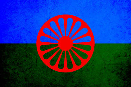 representatives: The Romani flag is the international flag of the Romani people. It was created by the Uniunea Generala a Romilor din Romania General Union of the Roma of Romania in 1933, and approved by international representatives at the First World Romani Congress in  Stock Photo