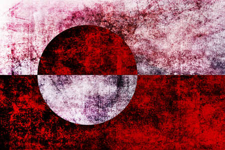en: The flag of Greenland was designed by Greenland native Thue Christiansen. It features two equal horizontal bands of white top and red with a large disk slightly to the hoist side of centre. The top half of the disk is red, the bottom half is white. The en