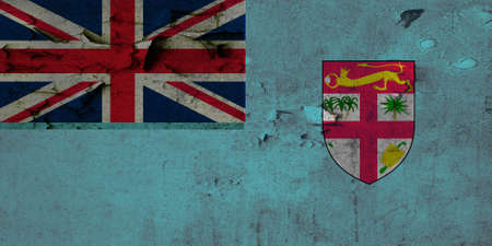 defaced: The current flag of Fiji was adopted on 10 October 1970. The state arms have been slightly modified but the flag has remained the same as during the colonial period. It is a defaced sky-blue Blue Ensign the actual Blue Ensign version of the flag is the  Stock Photo
