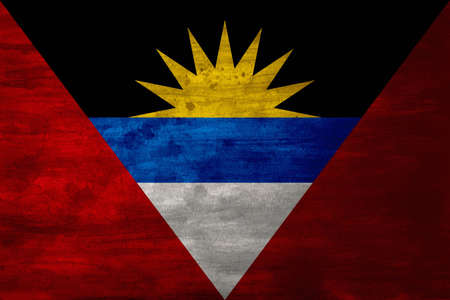 dawning: The national flag of Antigua and Barbuda was adopted on February 27, 1967, and was designed by a nationally acclaimed artist and sculptor, Sir Reginald Samuel. The rising sun symbolises the dawning of a new era. The colours have different meanings, the bl Stock Photo