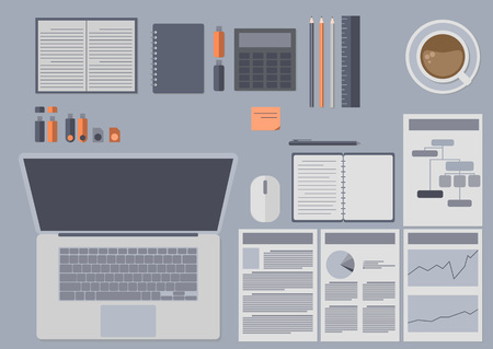 A set of office accessories with a laptop, coffee and flash drives in a flat style