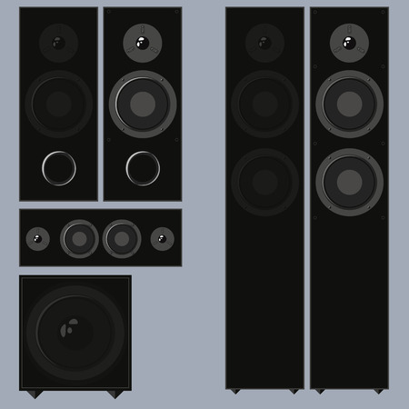 A set of acoustic speakers with a subwoofer in a flat style
