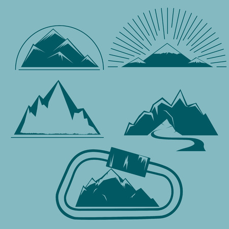 Contour illustration of mountains. Set of five images Illustration