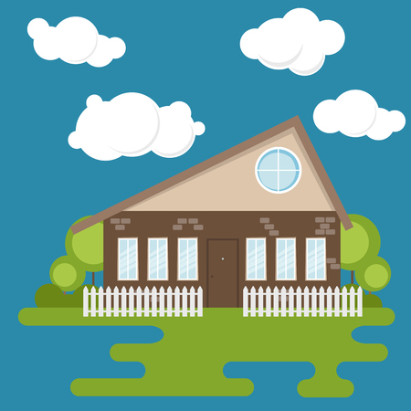 A small house with a mansard roof and a round window, painted in a flat style. The house is fenced  イラスト・ベクター素材