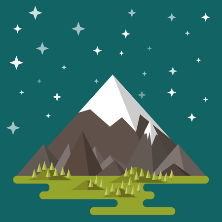 Mountain landscape. The hilly valley, the night, the stars. Flat style Ilustração