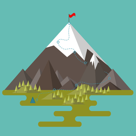 Laat het naar de top van de berg zijn. De weg naar het doel. Platte stijl. Bergdal met heuvels en bos Vector Illustratie