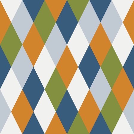 Consonant seamless pattern of rhombuses. Blue, orange, gray, green Çizim