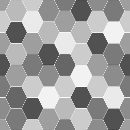 Seamless black and white background from hexagonal elements. Grayscale. Chaotically colored