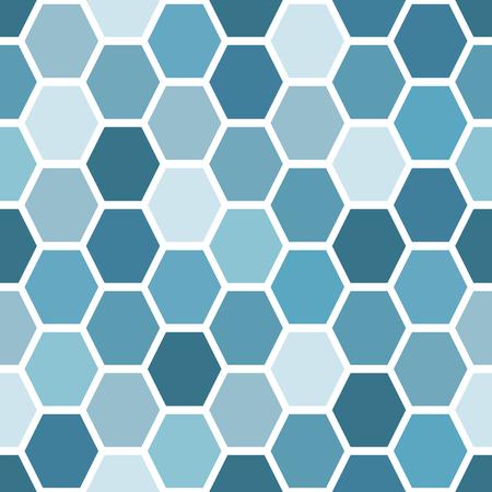 Seamless background from hexagonal tiles. Blue on white