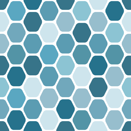 Seamless geometric pattern of rounded hexagons. Blue on white background