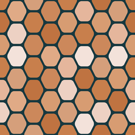 Seamless geometric pattern of rounded hexagons.  Warm colors.