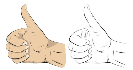 Stylized cartoon figure. Wrist. Gesture. Thumbs up. Outline and fill