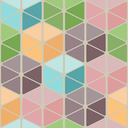 Seamless pattern of rounded triangles forming cubes. Light colors