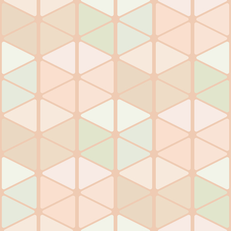 Seamless pattern of rounded triangles forming cubes. Light pastel colors