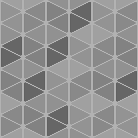 Seamless pattern of rounded triangles forming cubes. Grayscale background Ilustrace