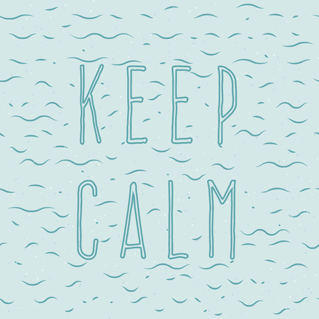 Light blue background. Ripples on the water, small waves, bubbles. Inscription: Keep Calm