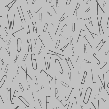 Seamless pattern from scattered and inverted letters. Gray background, Narrow letters, handwritten font 向量圖像