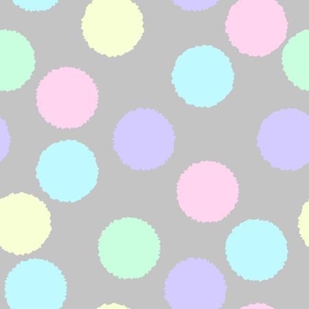 Seamless pattern. Fluffy fluffy circles of different colors on a gray background. Light shades, pastel