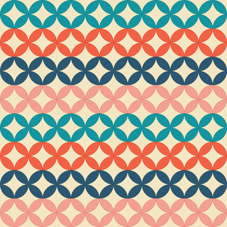 Seamless retro pattern. Intersecting circles. Multicolored geometric shapes. Duplicate background. Orange, blue, coral and marine