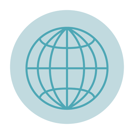 Globe, a sign of the browser, a planet with parallels and meridians on a light background. A simple flat style without a shadow, with a frame.Light blue background, blue contour of the planet