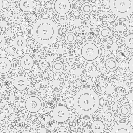 Seamless pattern. Gears of different sizes with different number of teeth. Mechanism. Dark contour on the light. Thematic background
