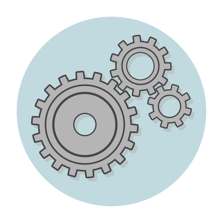Three gray gears on a blue background with a shadow. White round frame. Flat style. Work, mechanics, settings