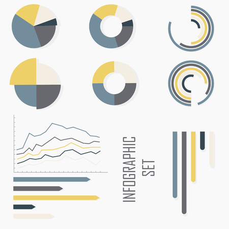 A set of infographics with diagrams, graphs and diagrams. 9 elements. Different colors: yellow, gray, blue, ivory  イラスト・ベクター素材