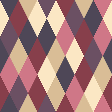 Simple abstract pattern of rhombuses. Different colors. Beige, red, burgundy, wine. Simple shapes. Seamless repeating  background. Foto de archivo - 110801825
