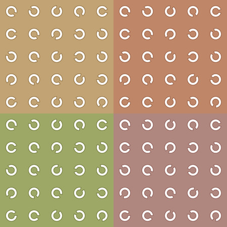 Seamless pattern of unlocked rings. A set of four backgrounds. Repeating pattern. Olive, beige, orange. Stroked Rings