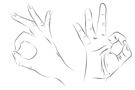 Gesture OK. Human hand, wrist. Outline. Sketch style. Black on white. Two views