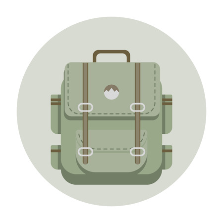 Travel khaki  backpack in flat style. Multiple pockets, straps and handle Ilustrace