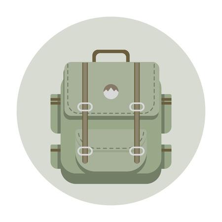 Travel khaki  backpack in flat style. Multiple pockets, straps and handle Çizim
