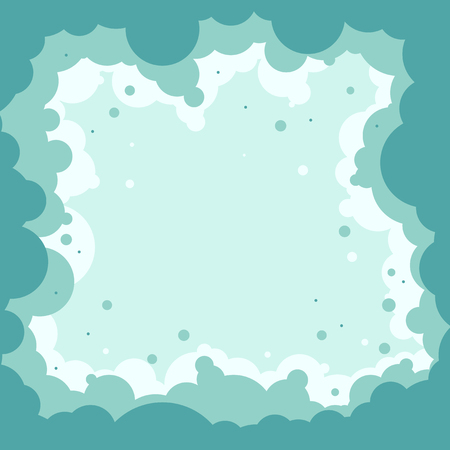 Frame. Abstract clouds. Shades of blue and white. Bubbles, circles. Simple geometric shapes. Center is free