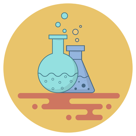 Blue flask and retort with chemical fluid. Bubbles come out. Flat style. Yellow background.