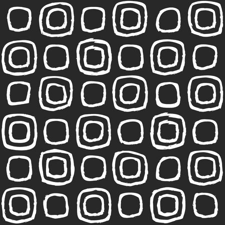 Swollen squares. White squares, drawn in chalk on a black board. Seamless pattern. Repeating geometric shapes. Modern monochrome hand-drawn background
