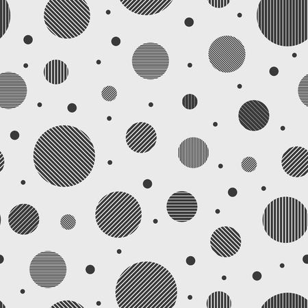 Abstract circles seamless pattern. Circles are formed by stripes. Vertical, horizontal and diagonal. Grayscale. Simple shapes.