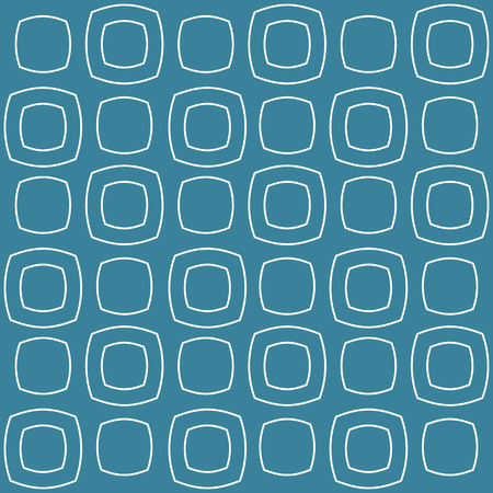 Swollen squares. White on a blue background. Seamless pattern. Repeating geometric shapes. Modern background