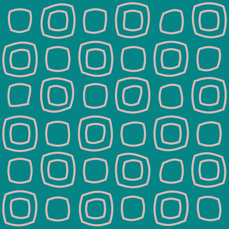 Hand-drawn deformed squares on a turquoise background. Repeating pattern, simple shapes. Geometric modern background. Two colors  Ilustração