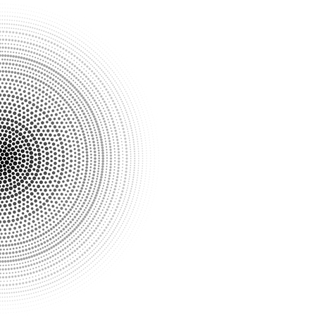 Geometric hi-tech background. Concentric circles consist of black dots. Black and white