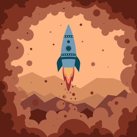 Cute cartoon rocket starts from the surface of Mars in clouds of smoke and red dust. Small turquoise rocket with two round portholes. Red Martian mountains in the background