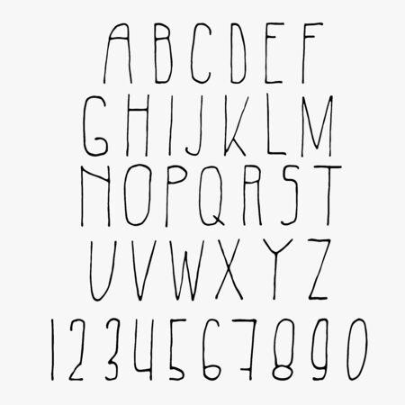 Handgeschriebene hohe Schrift. Nur Großbuchstaben und Zahlen. Lateinische Sans-Serif. Perfekt für Beschriftungen, Grußkarten und Beschilderung. Ein wenig schiefe lächerliche Buchstaben. Wie von Kinderhand geschrieben.