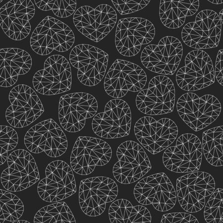 Cute gentle seamless pattern. White hearts on a chalkboard. Low poly style. monochrome background. The hearts consist of triangular parts. Only lines.